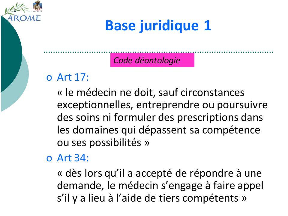 Base juridique 1 Code déontologie. Art 17: