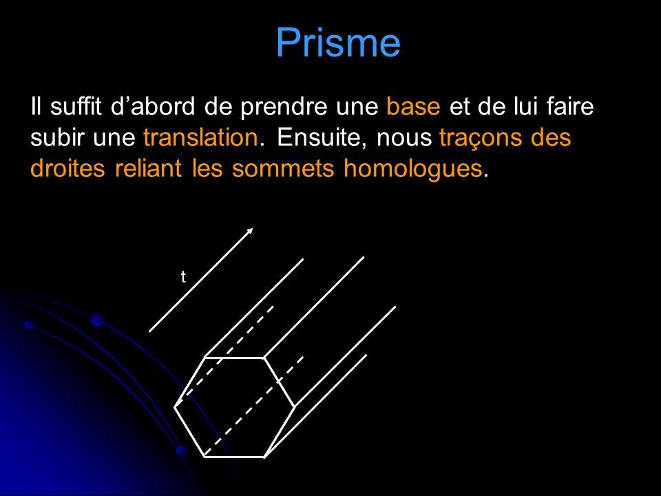 Prisme Il suffit d'abord de prendre une base et de lui faire subir une translation. Ensuite, nous traçons des droites reliant les sommets homologues.