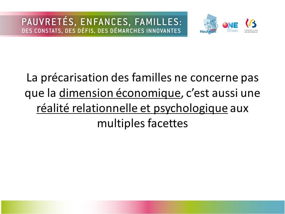 La précarisation des familles ne concerne pas que la dimension économique, c'est aussi une réalité relationnelle et psychologique aux multiples facettes