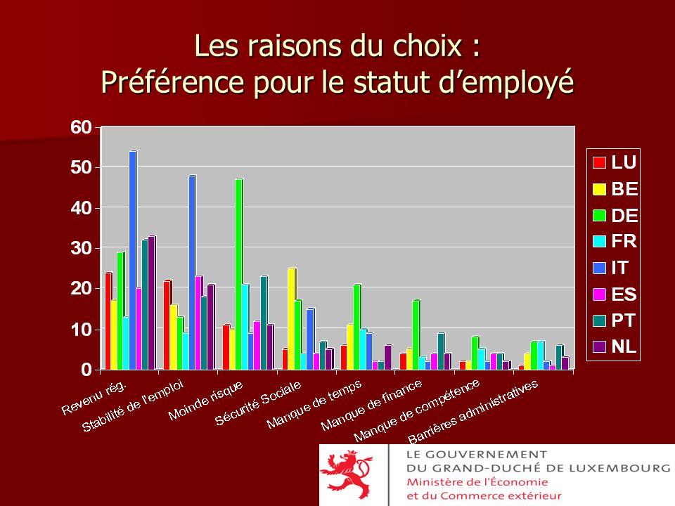 Les raisons du choix : Préférence pour le statut d'employé