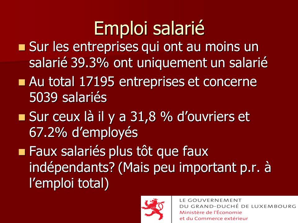 Emploi salarié Sur les entreprises qui ont au moins un salarié 39.3% ont uniquement un salarié. Au total 17195 entreprises et concerne 5039 salariés.