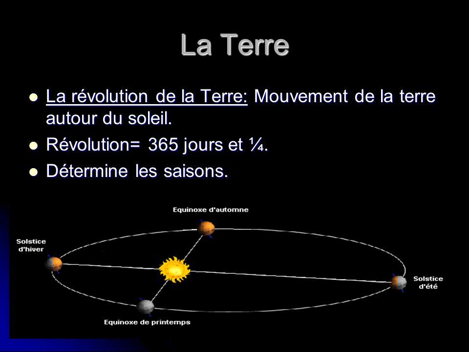La Terre La révolution de la Terre: Mouvement de la terre autour du soleil. Révolution= 365 jours et ¼.