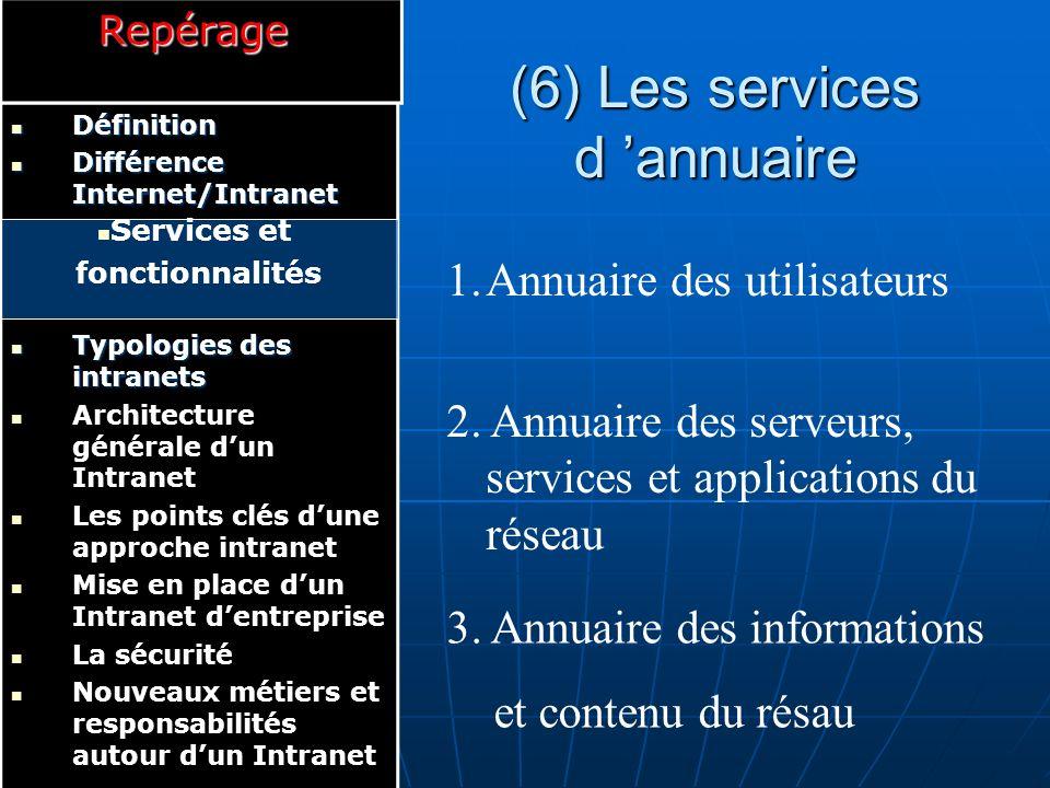 (6) Les services d 'annuaire