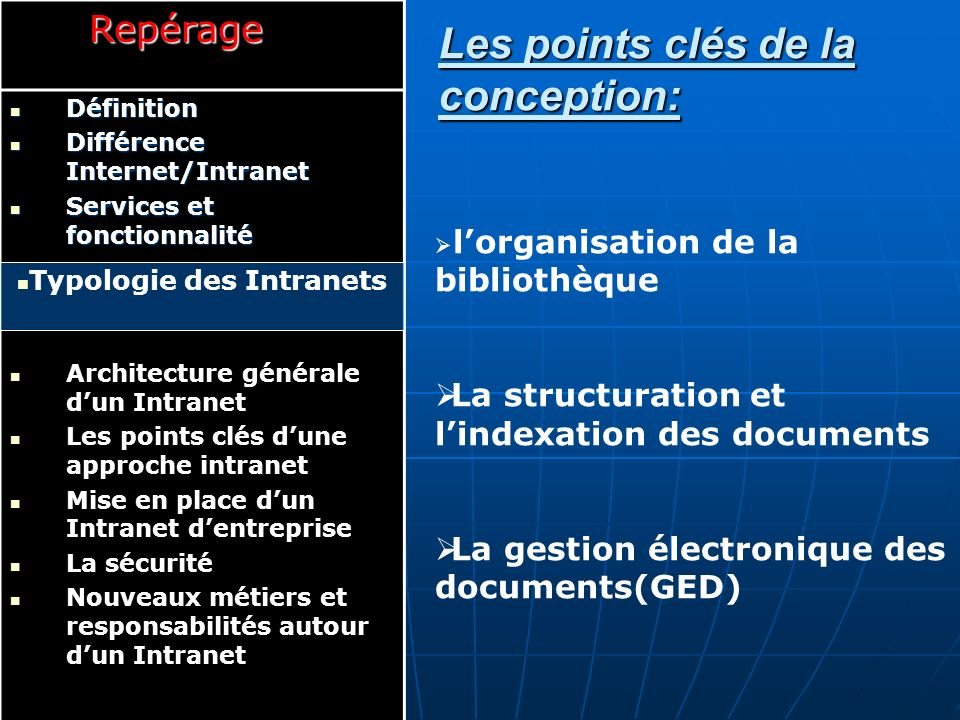 Les points clés de la conception: