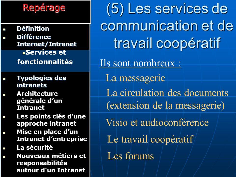 (5) Les services de communication et de travail coopératif