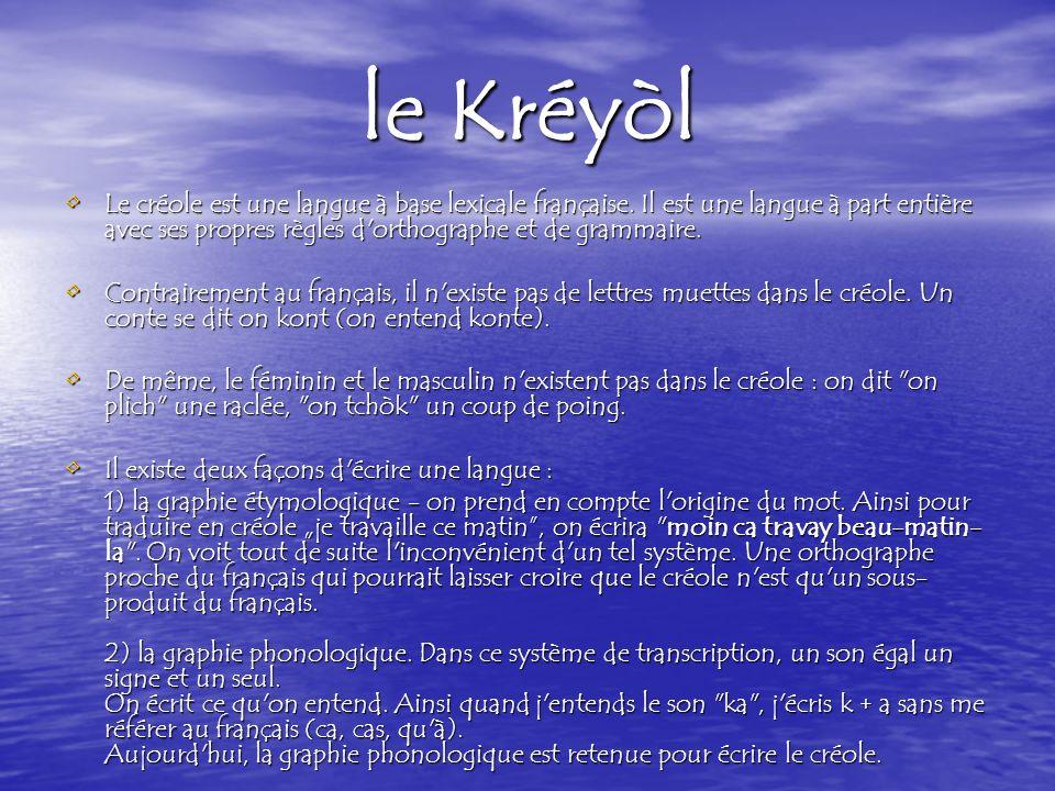 le Kréyòl Le créole est une langue à base lexicale française. Il est une langue à part entière avec ses propres règles d orthographe et de grammaire.