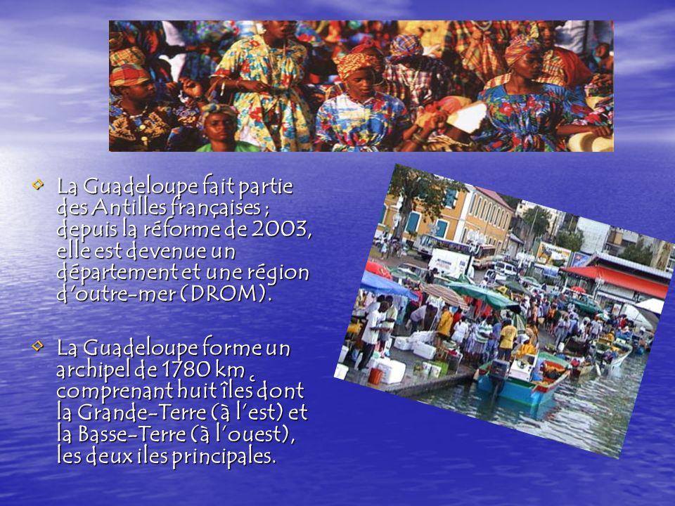 La Guadeloupe fait partie des Antilles françaises ; depuis la réforme de 2003, elle est devenue un département et une région d outre-mer (DROM).