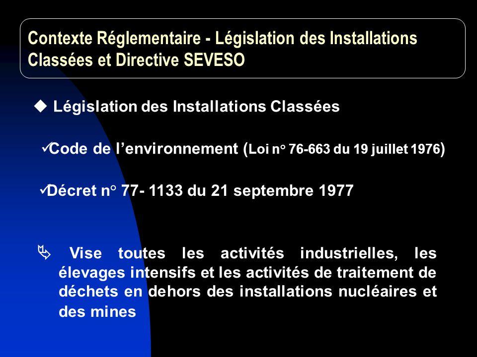 Contexte Réglementaire - Législation des Installations Classées et Directive SEVESO
