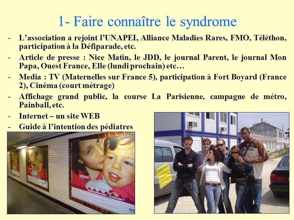 1- Faire connaître le syndrome