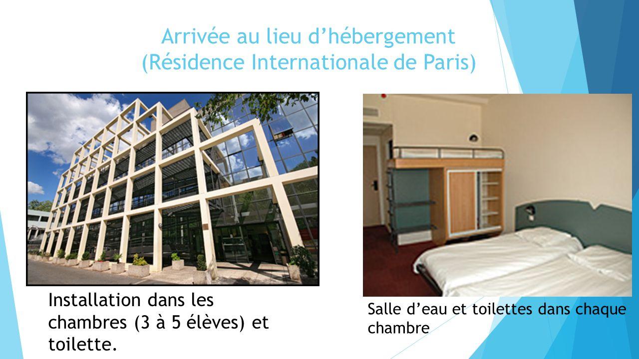 Arrivée au lieu d'hébergement (Résidence Internationale de Paris)