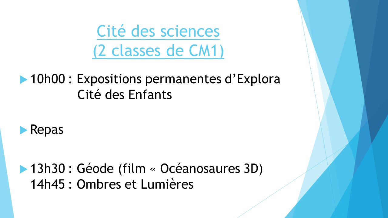 Cité des sciences (2 classes de CM1)
