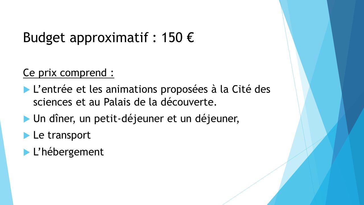 Budget approximatif : 150 €