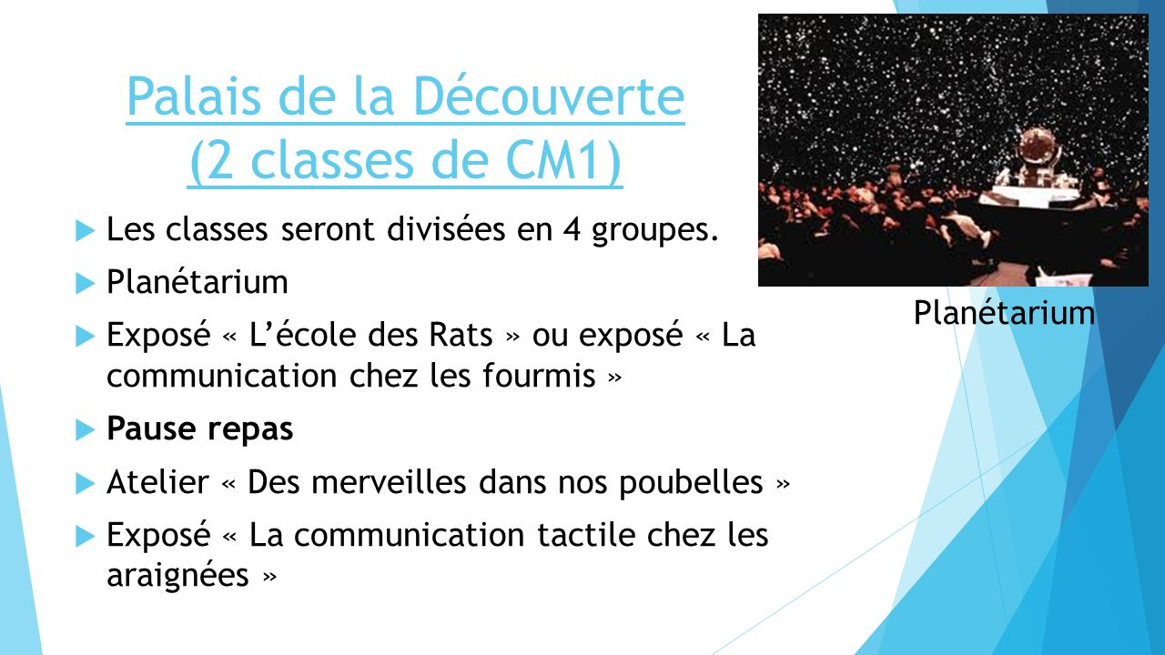 Palais de la Découverte (2 classes de CM1)