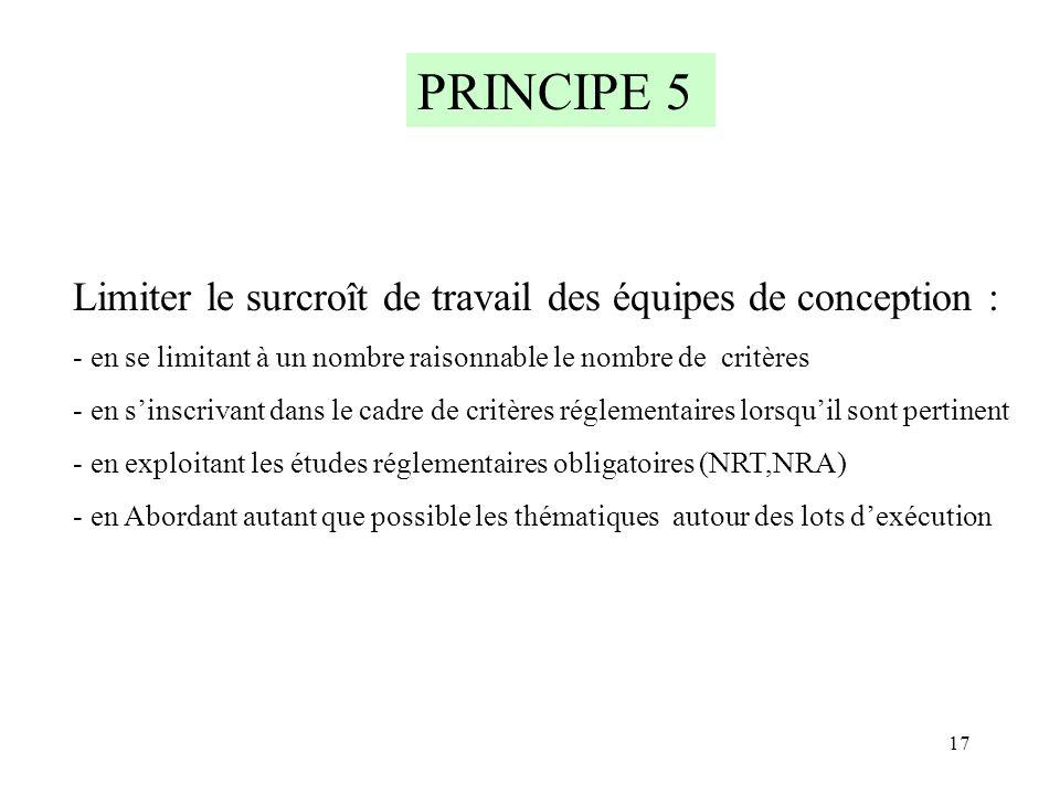 PRINCIPE 5 Limiter le surcroît de travail des équipes de conception :