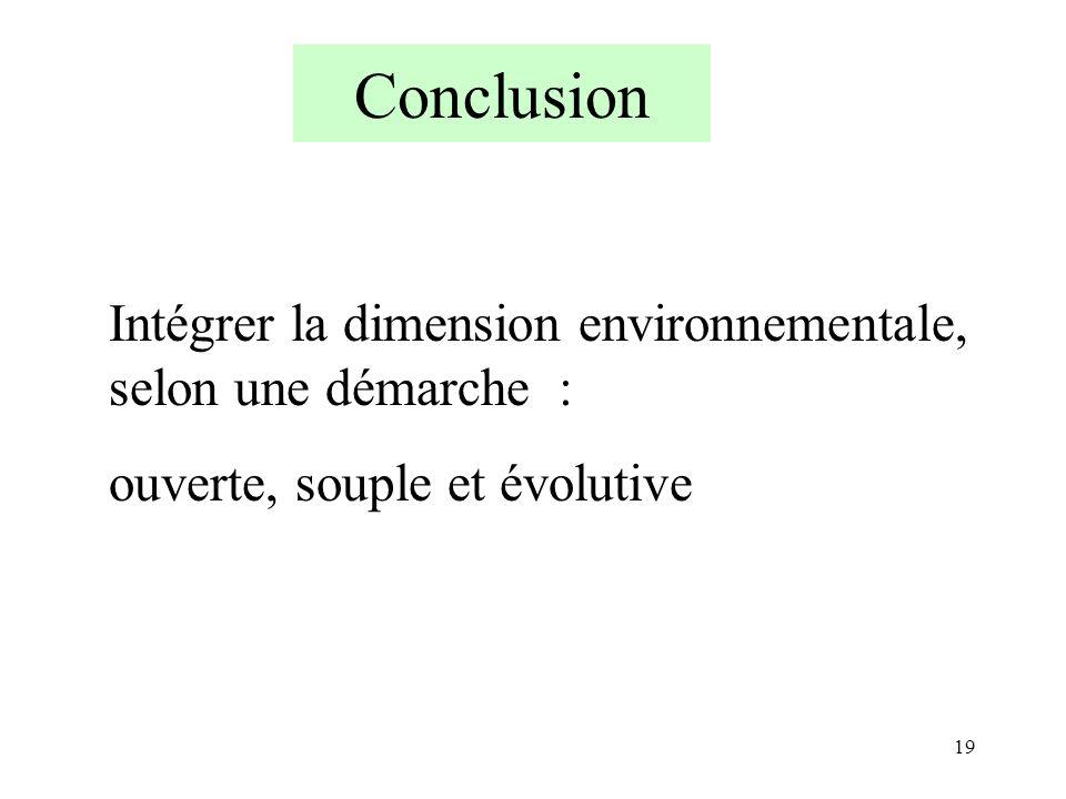 Conclusion Intégrer la dimension environnementale, selon une démarche : ouverte, souple et évolutive.