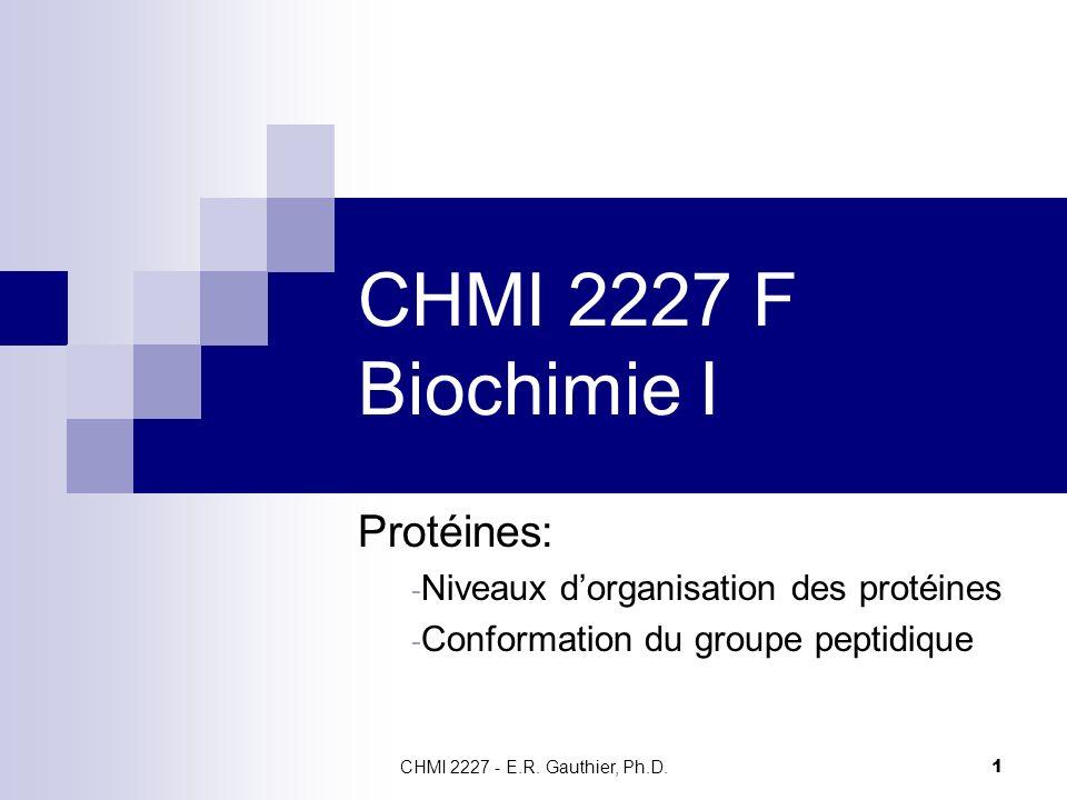 CHMI 2227 F Biochimie I Protéines: