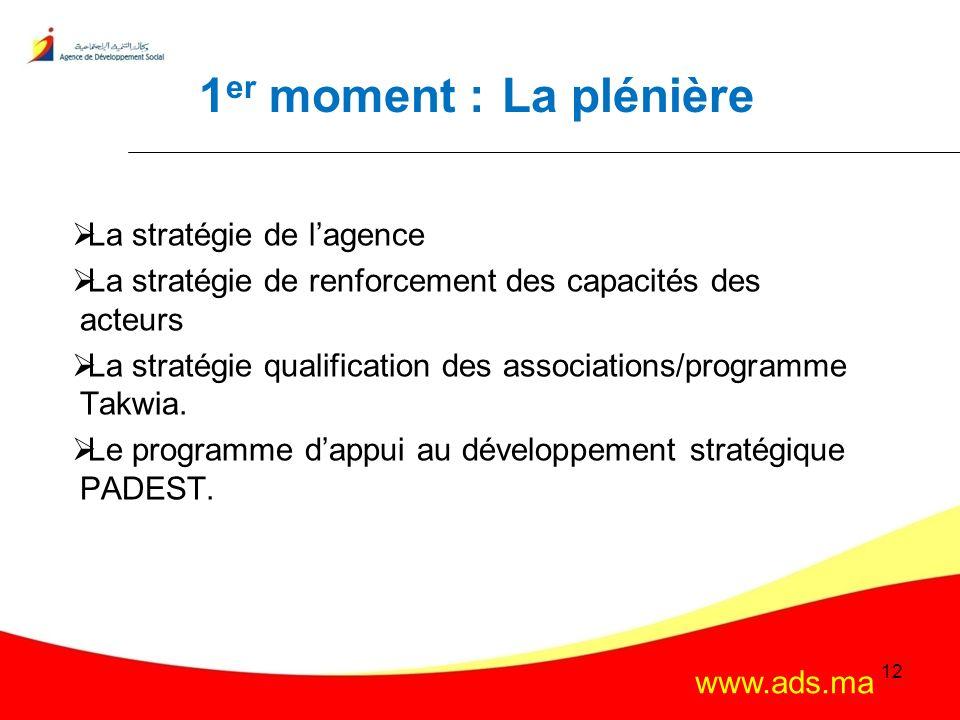 1er moment : La plénière La stratégie de l'agence
