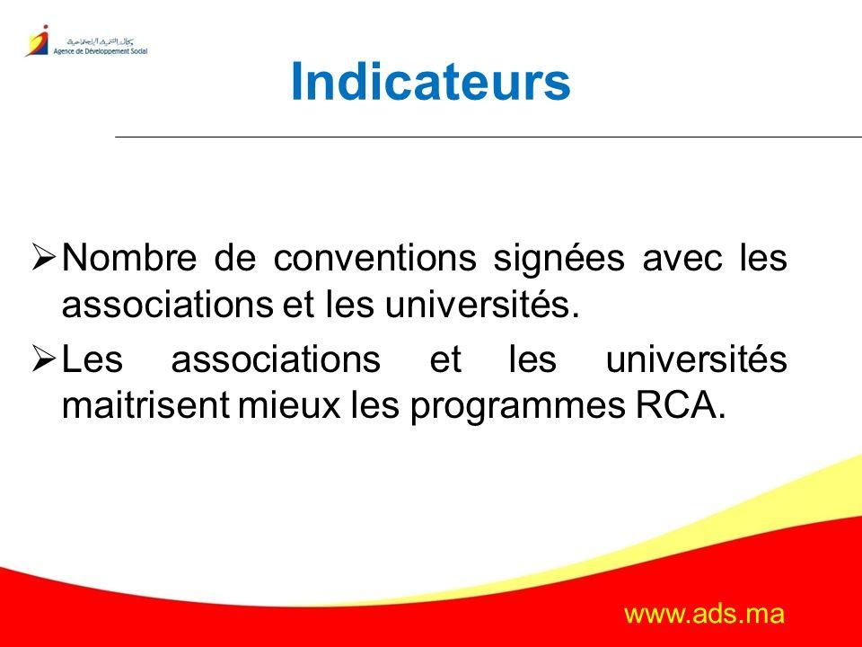 Indicateurs Nombre de conventions signées avec les associations et les universités.