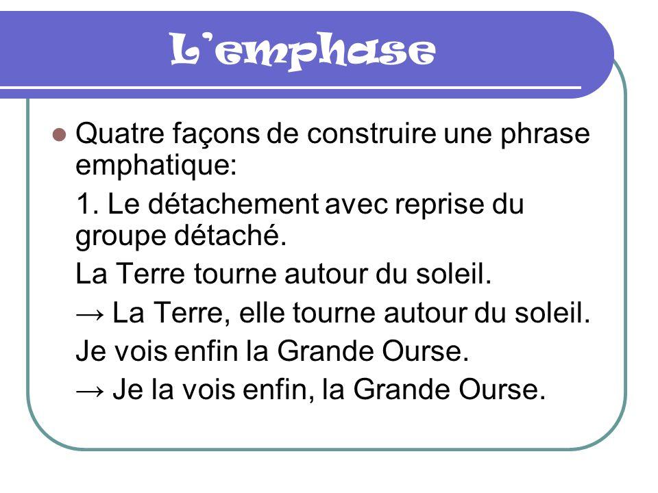L'emphase Quatre façons de construire une phrase emphatique: