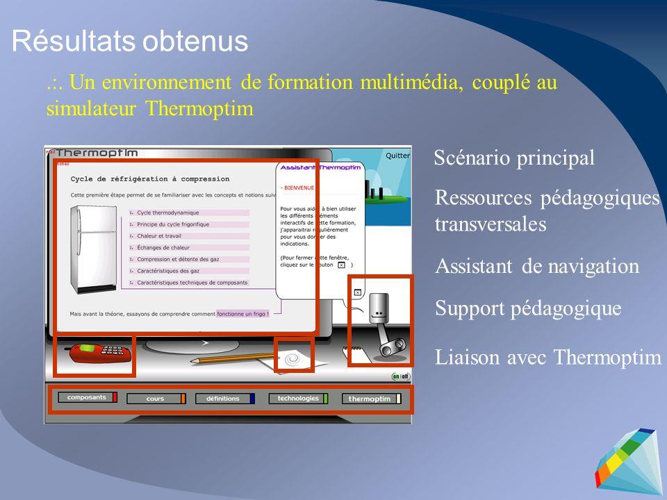 Résultats obtenus .:. Un environnement de formation multimédia, couplé au simulateur Thermoptim. Scénario principal.