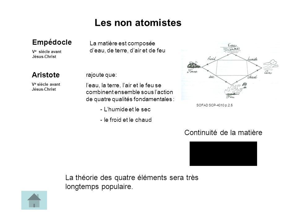 Les non atomistes Empédocle Aristote Continuité de la matière