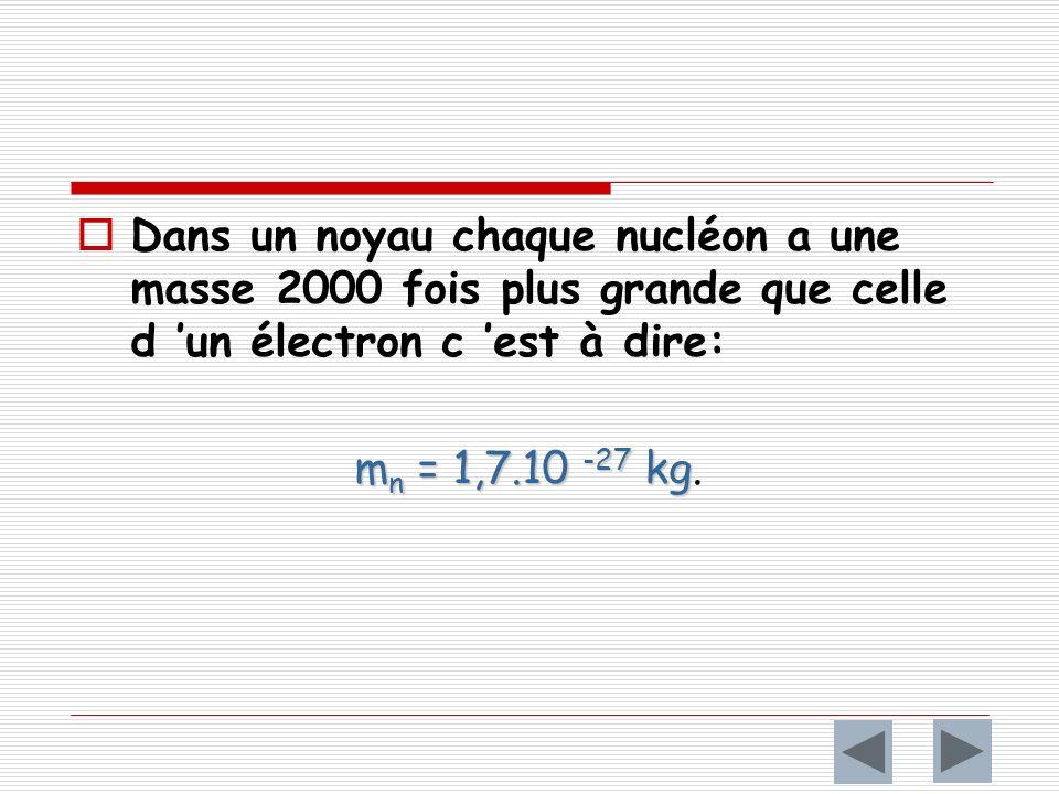 Dans un noyau chaque nucléon a une masse 2000 fois plus grande que celle d 'un électron c 'est à dire: