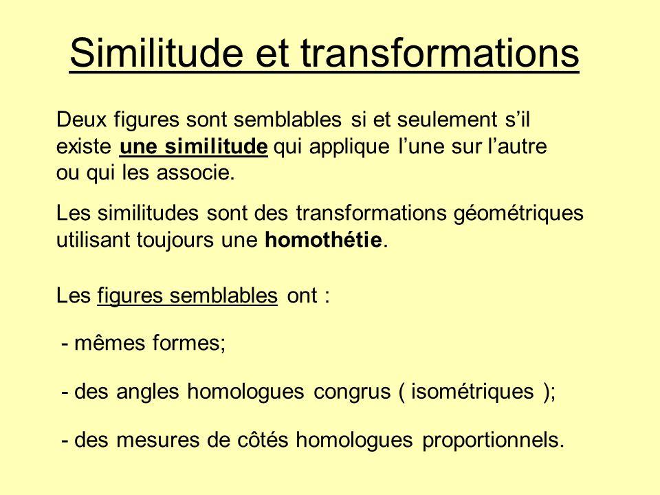 Similitude et transformations
