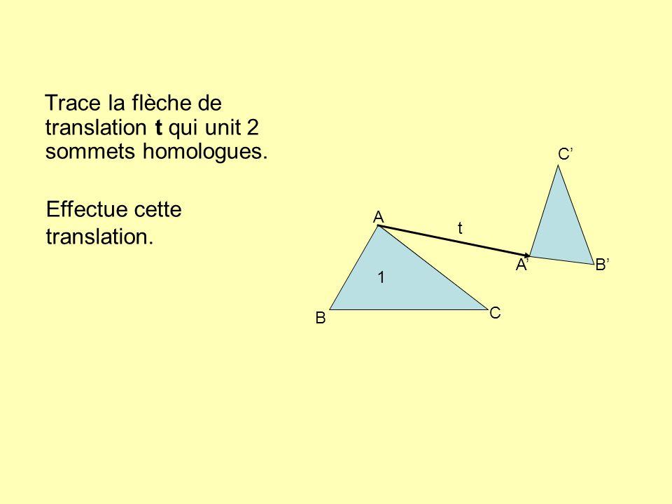 Trace la flèche de translation t qui unit 2 sommets homologues.