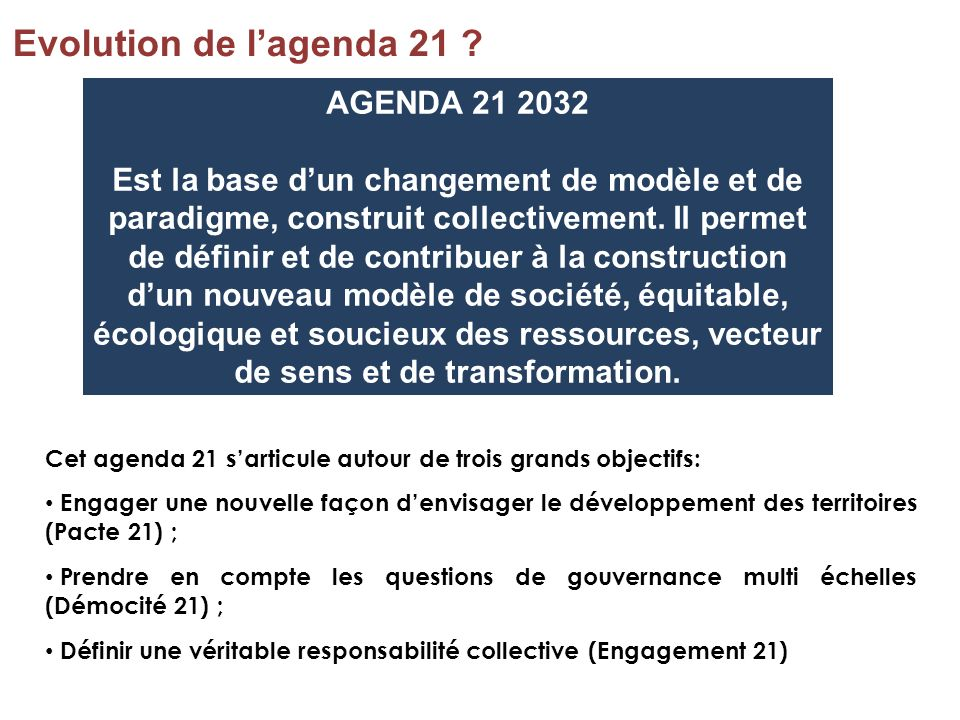 Evolution de l'agenda 21 AGENDA 21 2032