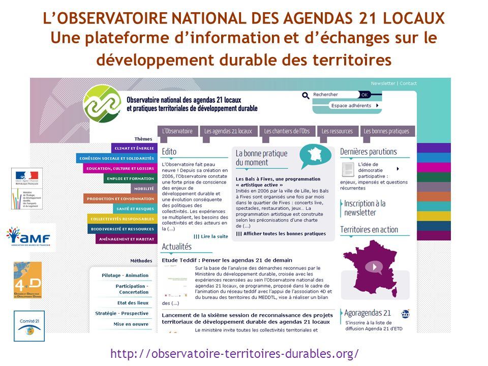 L'OBSERVATOIRE NATIONAL DES AGENDAS 21 LOCAUX