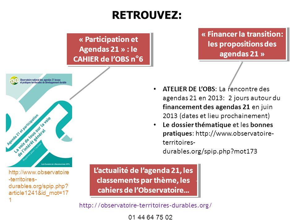RETROUVEZ: « Financer la transition: les propositions des agendas 21 »