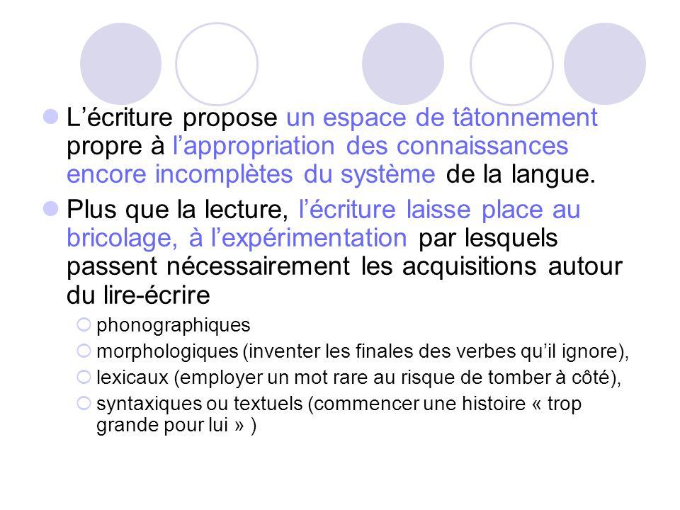 L'écriture propose un espace de tâtonnement propre à l'appropriation des connaissances encore incomplètes du système de la langue.