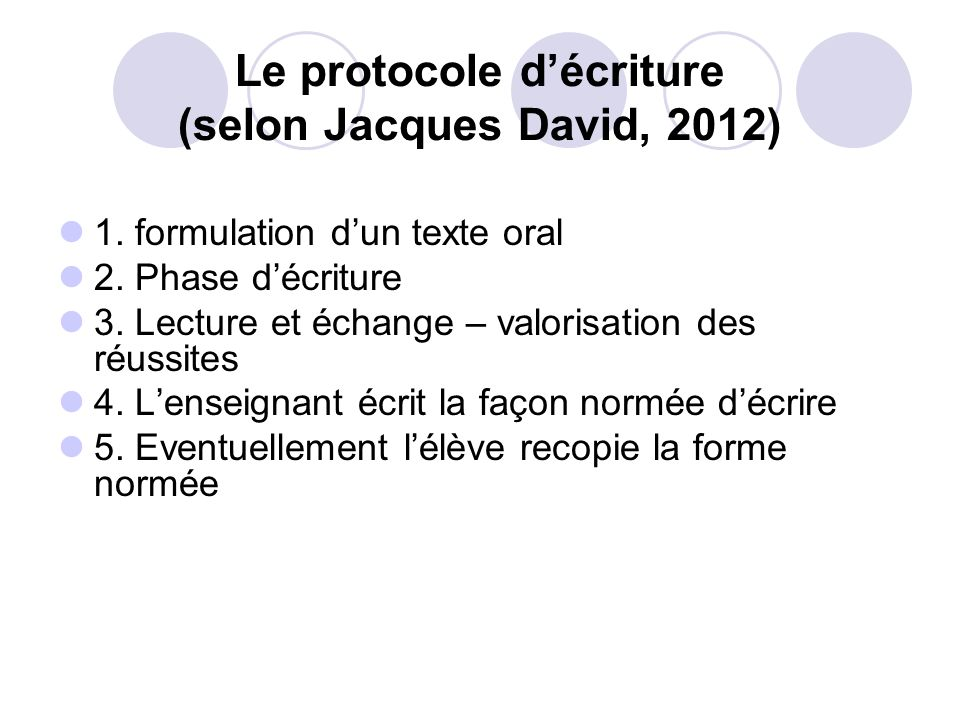 Le protocole d'écriture (selon Jacques David, 2012)