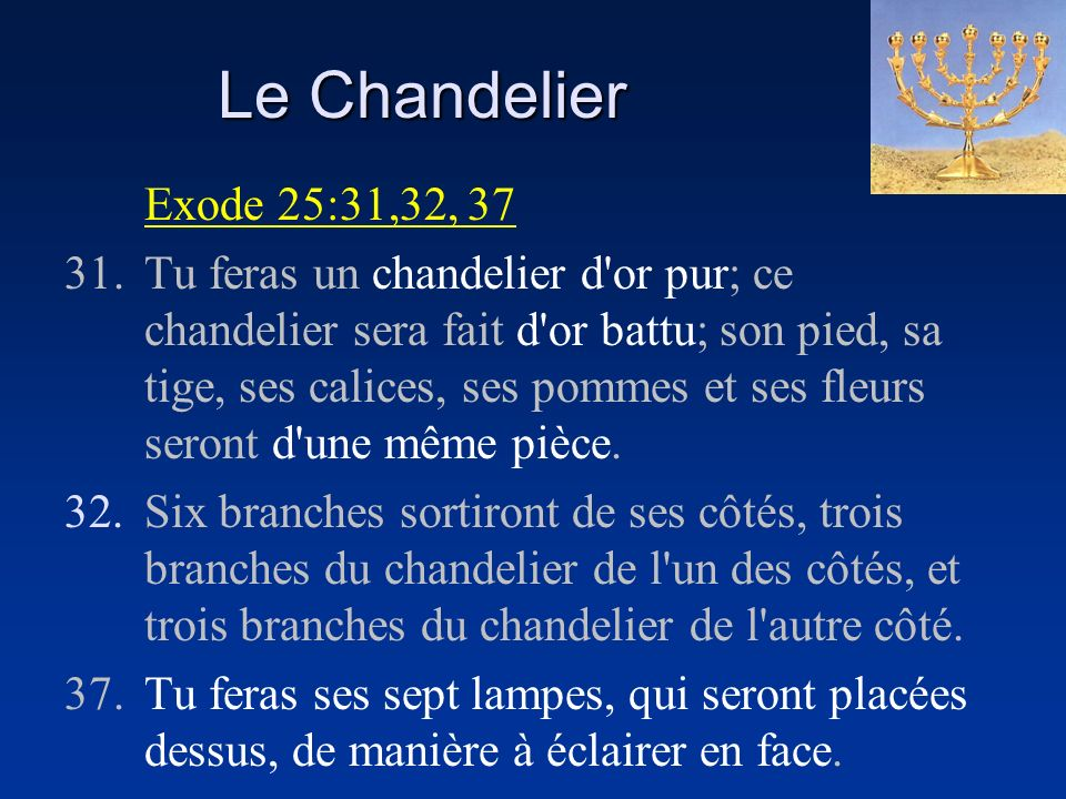 Le Chandelier Exode 25:31,32, 37.