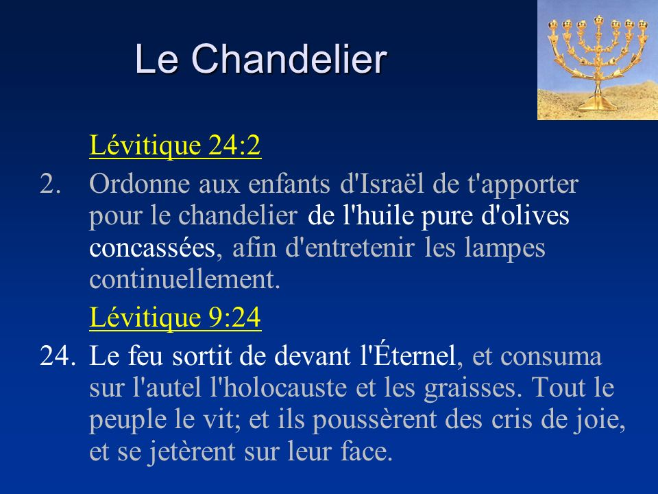 Le Chandelier Lévitique 24:2