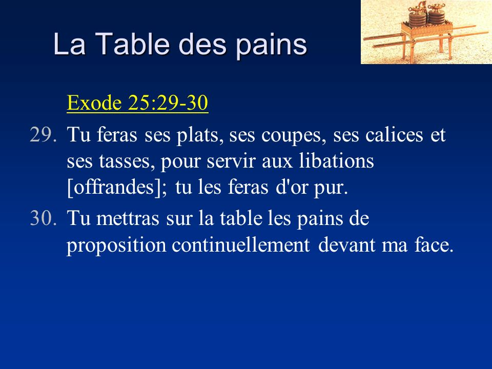 La Table des pains Exode 25:29-30