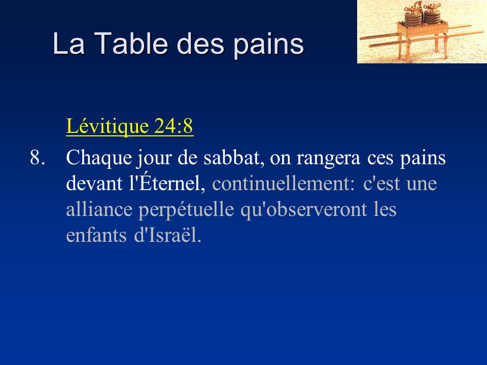 La Table des pains Lévitique 24:8