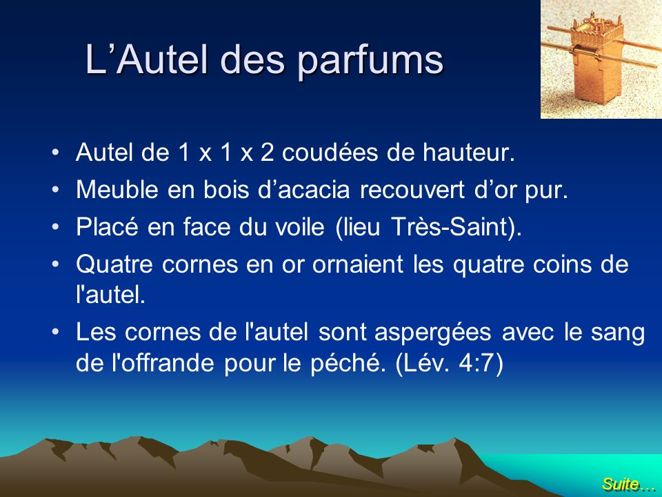 L'Autel des parfums Autel de 1 x 1 x 2 coudées de hauteur.