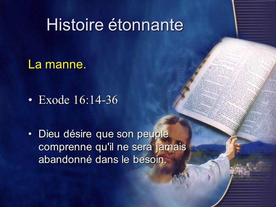 Histoire étonnante La manne. Exode 16:14-36