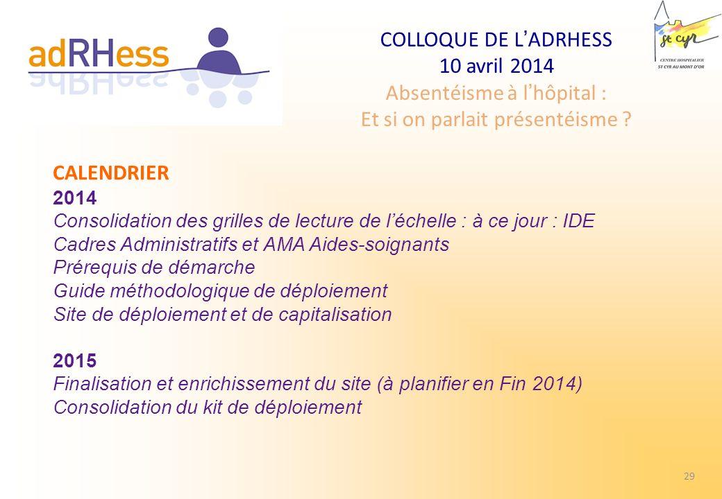CALENDRIER 2014. Consolidation des grilles de lecture de l'échelle : à ce jour : IDE Cadres Administratifs et AMA Aides-soignants.