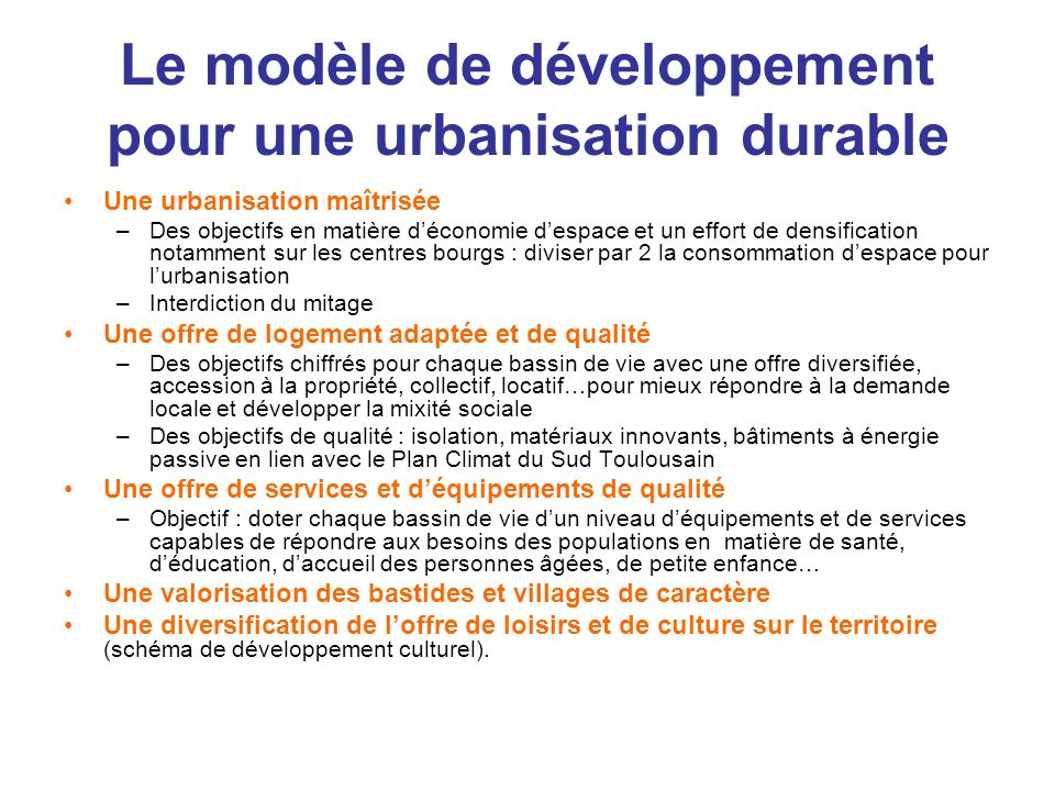 Le modèle de développement pour une urbanisation durable