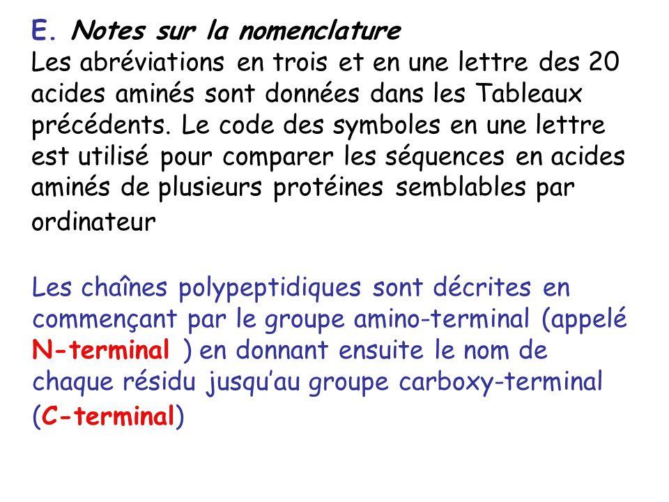E. Notes sur la nomenclature