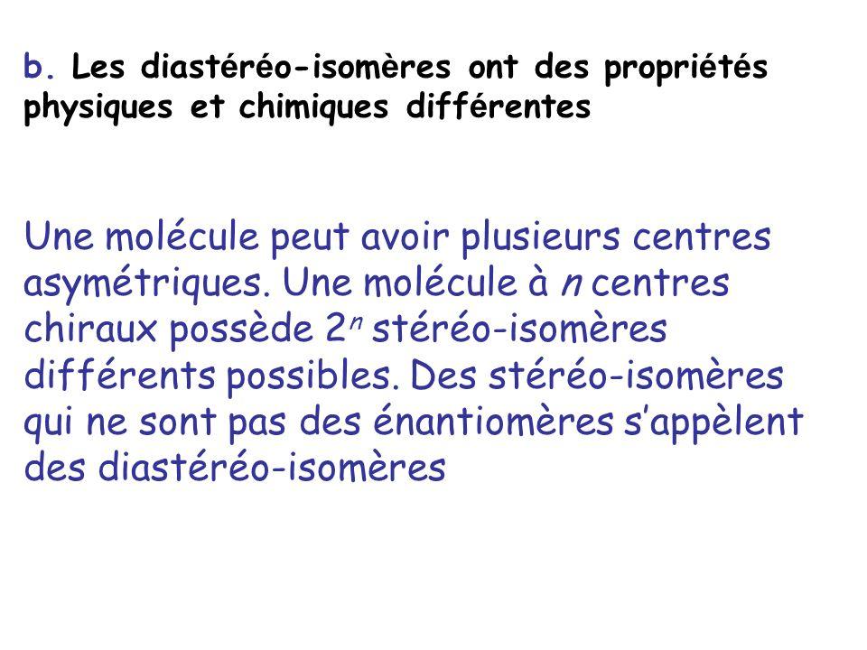 b. Les diastéréo-isomères ont des propriétés physiques et chimiques différentes