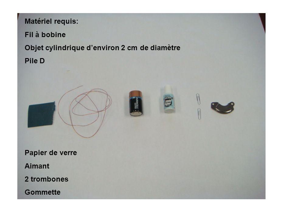 Matériel requis: Fil à bobine. Objet cylindrique d'environ 2 cm de diamètre. Pile D. Papier de verre.