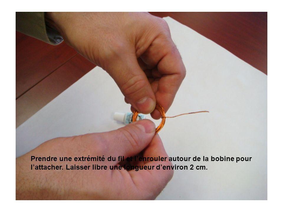 Prendre une extrémité du fil et l'enrouler autour de la bobine pour l'attacher.