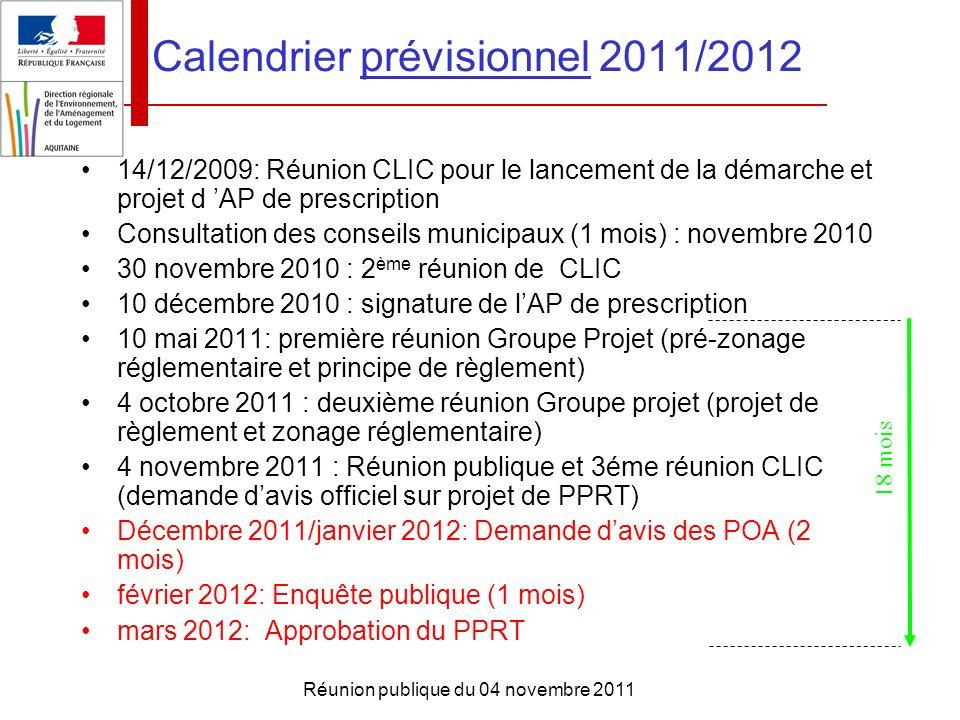 Calendrier prévisionnel 2011/2012