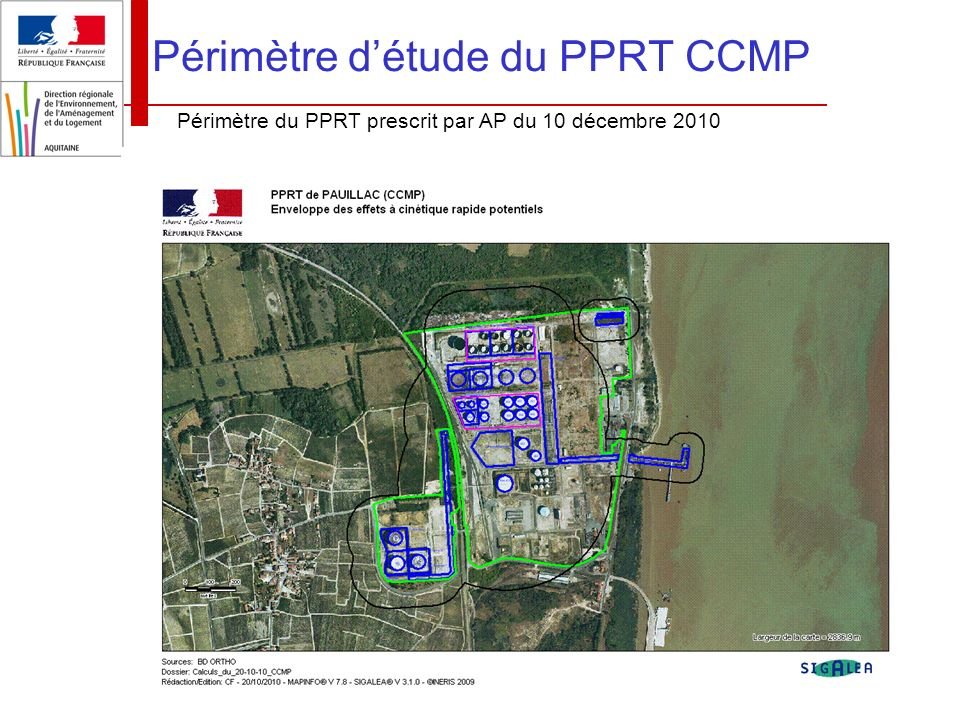 Périmètre d'étude du PPRT CCMP
