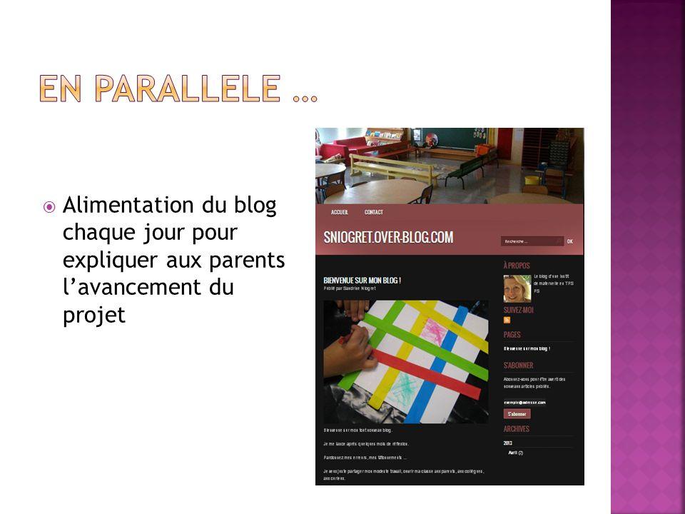 EN PARALLELE … Alimentation du blog chaque jour pour expliquer aux parents l'avancement du projet.