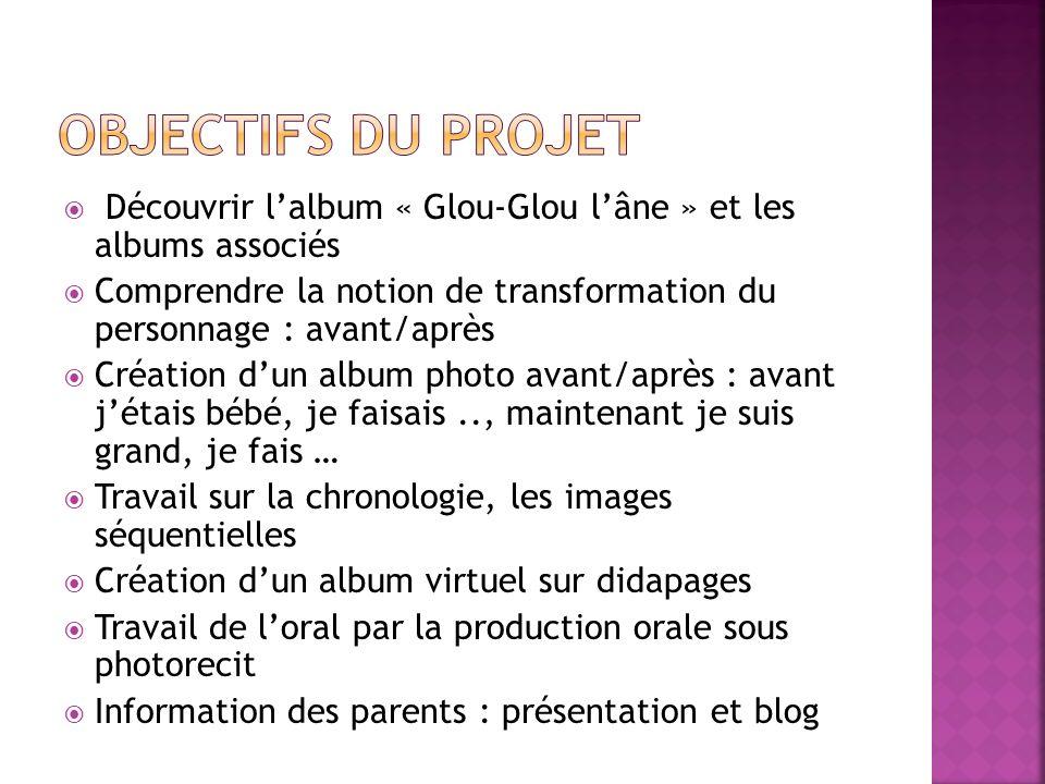 Objectifs du projet Découvrir l'album « Glou-Glou l'âne » et les albums associés.