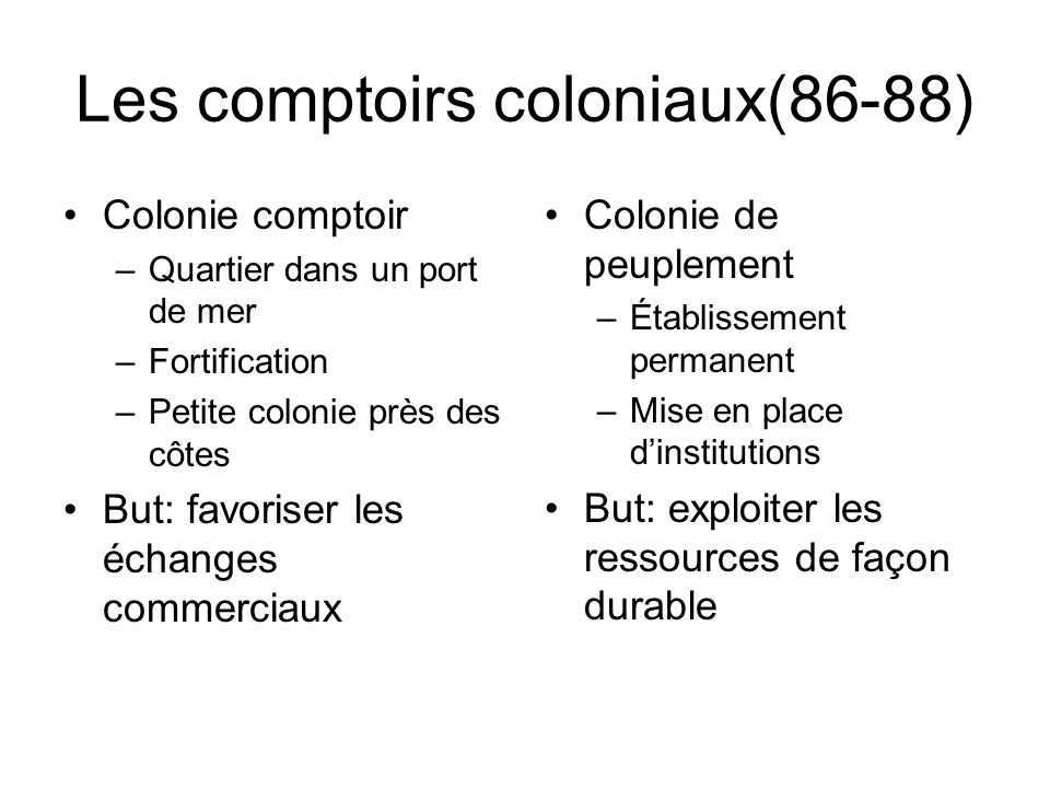 Les comptoirs coloniaux(86-88)